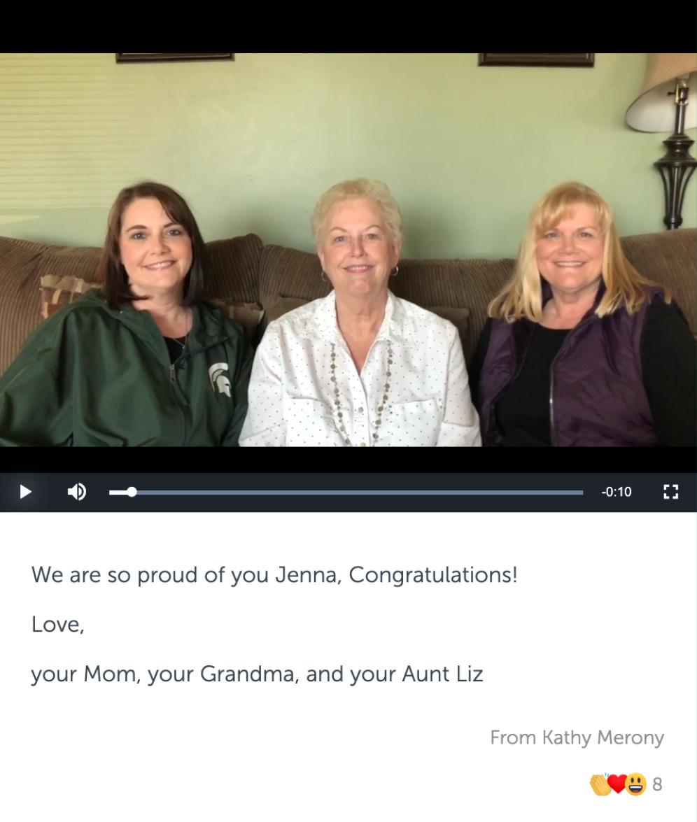 Post with video of three women, and congratulatory message