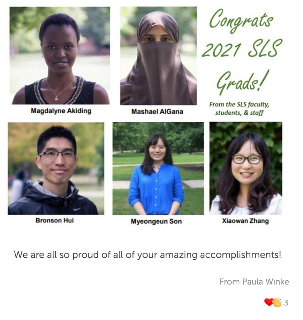 Post with photo of a collage of headshots of Second Language Studies graduates, and congratulatory message