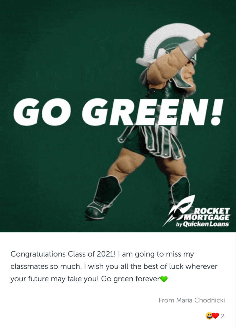 """Post with a gif of Sparty with text """"GO GREEN!"""", and congratulatory message"""