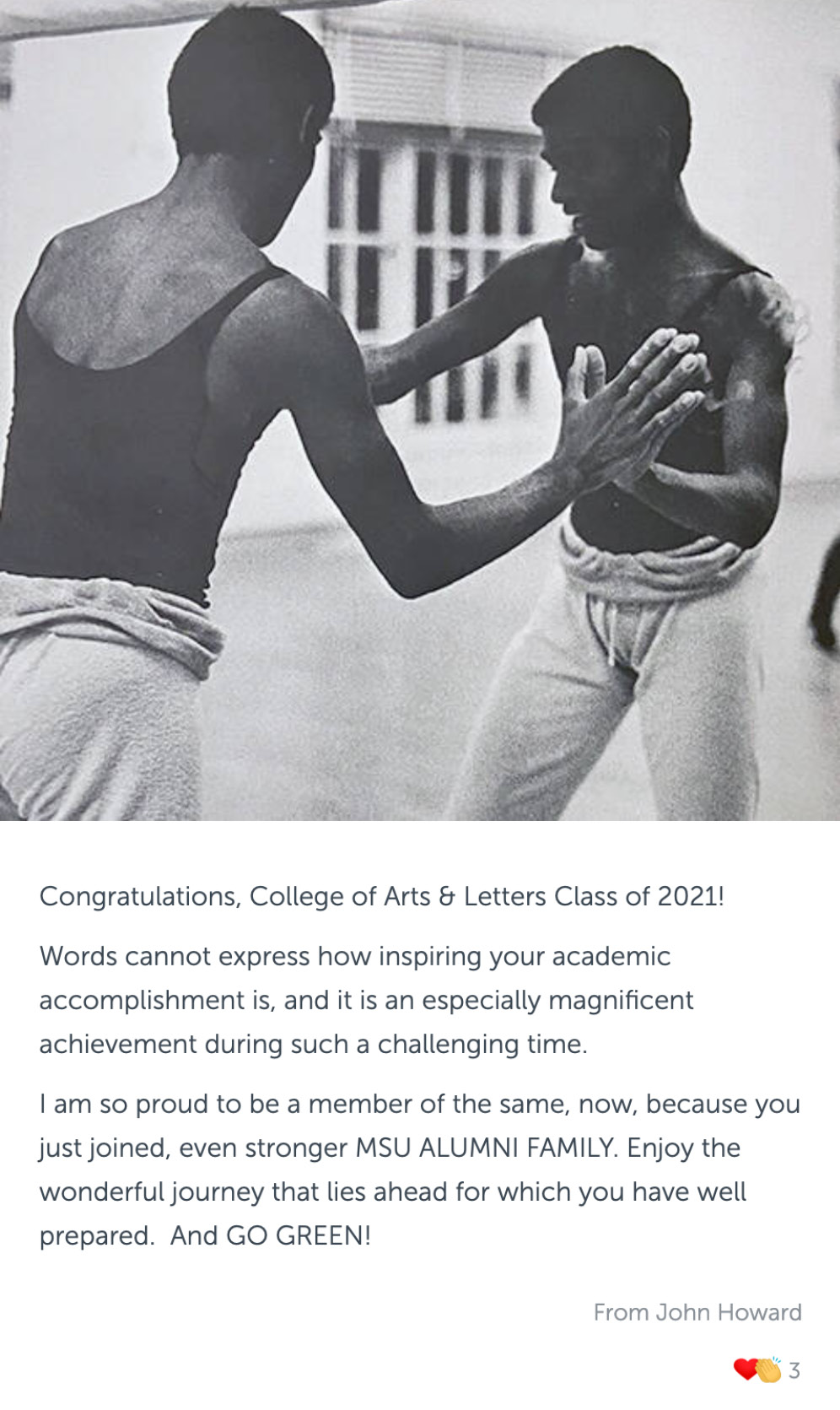 Post with an old photo of young man in a dance studio, and congratulatory message